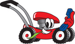 Clip Art Graphic of a Red Lawn Mower Mascot Character Chewing on a Blade of Grass and Holding a Blue Phone While Passing by