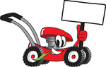 Clip Art Graphic of a Red Lawn Mower Mascot Character Holding a Blank Sign and Chewing on a Blade of Grass While Passing by