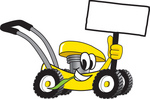 Clip Art Graphic of a Yellow Lawn Mower Mascot Character Holding a Blank Sign and Chewing on a Blade of Grass While Passing by