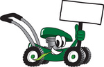 Clip Art Graphic of a Green Lawn Mower Mascot Character Holding a Blank Sign and Chewing on a Blade of Grass While Passing by