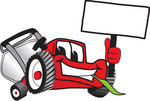 Clip Art Graphic of a Red Lawn Mower Mascot Character Facing Front, Chewing on a Blade of Grass and Holding a Blank White Sign