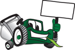 Clip Art Graphic of a Green Lawn Mower Mascot Character Facing Front, Chewing on a Blade of Grass and Holding a Blank White Sign