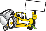Clip Art Graphic of a Yellow Lawn Mower Mascot Character Facing Front, Chewing on a Blade of Grass and Holding a Blank White Sign