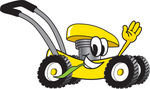 Clip Art Graphic of a Yellow Lawn Mower Mascot Character Waving and Chewing on a Blade of Grass While Passing by