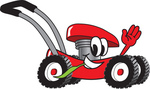 Clip Art Graphic of a Red Lawn Mower Mascot Character Waving and Chewing on a Blade of Grass While Passing by