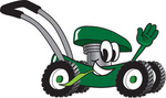 Clip Art Graphic of a Green Lawn Mower Mascot Character Waving and Chewing on a Blade of Grass While Passing by