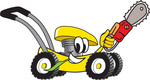 Clip Art Graphic of a Yellow Lawn Mower Mascot Character Chewing on a Blade of Grass and Holding a Saw While Passing by
