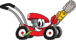 Clip Art Graphic of a Red Lawn Mower Mascot Character Chewing on a Blade of Grass and Holding a Saw While Passing by