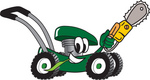 Clip Art Graphic of a Green Lawn Mower Mascot Character Chewing on a Blade of Grass and Holding a Saw While Passing by