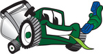 Clip Art Graphic of a Green Lawn Mower Mascot Character Facing Front, Chewing on Grass and Holding a Blue Phone