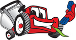Clip Art Graphic of a Red Lawn Mower Mascot Character Facing Front, Chewing on Grass and Holding a Blue Phone