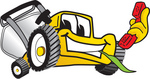 Clip Art Graphic of a Yellow Lawn Mower Mascot Character Facing Front, Chewing on Grass and Holding a Red Phone