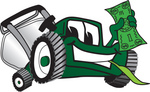 Clip Art Graphic of a Green Lawn Mower Mascot Character Facing Front, Smiling and Chewing on Grass While Holding a Dollar Bill