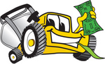 Clip Art Graphic of a Yellow Lawn Mower Mascot Character Facing Front, Smiling and Chewing on Grass While Holding a Dollar Bill