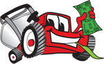 Clip Art Graphic of a Red Lawn Mower Mascot Character Facing Front, Smiling and Chewing on Grass While Holding a Dollar Bill