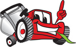 Clip Art Graphic of a Red Lawn Mower Mascot Character Facing Front, Smiling and Eating Grass While Pointing Upwards