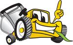 Clip Art Graphic of a Yellow Lawn Mower Mascot Character Facing Front, Smiling and Eating Grass While Pointing Upwards