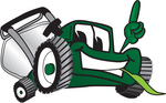 Clip Art Graphic of a Green Lawn Mower Mascot Character Facing Front, Smiling and Eating Grass While Pointing Upwards