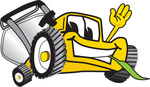 Clip Art Graphic of a Yellow Lawn Mower Mascot Character Waving and Chewing on Grass