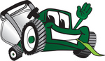Clip Art Graphic of a Green Lawn Mower Mascot Character Waving and Chewing on Grass