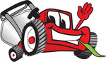 Clip Art Graphic of a Red Lawn Mower Mascot Character Waving and Chewing on Grass