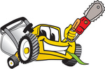 Clip Art Graphic of a Yellow Lawn Mower Mascot Character Holding a Red Saw