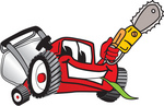 Clip Art Graphic of a Red Lawn Mower Mascot Character Holding a Yellow Saw
