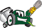 Clip Art Graphic of a Green Lawn Mower Mascot Character Holding a Yellow Saw