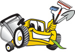 Clip Art Graphic of a Yellow Lawn Mower Mascot Character Facing Front, Chewing on Grass and Holding Gardening Tools