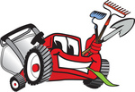 Clip Art Graphic of a Red Lawn Mower Mascot Character Facing Front, Chewing on Grass and Holding Gardening Tools