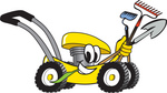 Clip Art Graphic of a Yellow Lawn Mower Mascot Character Smiling and Chewing on Grass While Passing by and Carrying Garden Tools