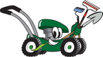 Clip Art Graphic of a Green Lawn Mower Mascot Character Smiling and Chewing on Grass While Passing by and Carrying Garden Tools