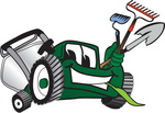 Clip Art Graphic of a Green Lawn Mower Mascot Character Facing Front, Chewing on Grass and Holding Gardening Tools