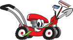 Clip Art Graphic of a Red Lawn Mower Mascot Character Smiling and Chewing on Grass While Passing by and Carrying Garden Tools