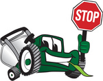 Clip Art Graphic of a Green Lawn Mower Mascot Character Facing Front and Smiling While Chewing on Grass and Holding a Stop Sign