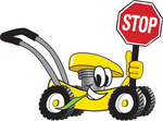 Clip Art Graphic of a Yellow Lawn Mower Mascot Character Smiling While Passing by, Chewing on Grass and Holding a Stop Sign