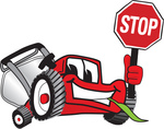 Clip Art Graphic of a Red Lawn Mower Mascot Character Facing Front and Smiling While Chewing on Grass and Holding a Stop Sign