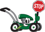 Clip Art Graphic of a Green Lawn Mower Mascot Character Smiling While Passing by, Chewing on Grass and Holding a Stop Sign