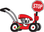 Clip Art Graphic of a Red Lawn Mower Mascot Character Smiling While Passing by, Chewing on Grass and Holding a Stop Sign