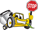 Clip Art Graphic of a Yellow Lawn Mower Mascot Character Facing Front and Smiling While Chewing on Grass and Holding a Stop Sign