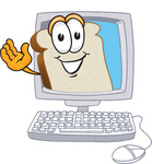 Clip Art Graphic of a White Bread Slice Mascot Character Waving From Inside a Computer Screen