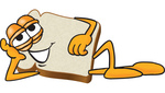 Clip Art Graphic of a White Bread Slice Mascot Character Reclined and Resting His Head on His Hand