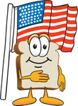 Clip Art Graphic of a White Bread Slice Mascot Character Standing in Front of an American Flag on Flag Day or the Fourth of July