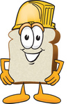 Clip Art Graphic of a White Bread Slice Mascot Character Wearing a Yellow Hardhat