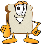 Clip Art Graphic of a White Bread Slice Mascot Character Pointing Outwards