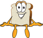Clip Art Graphic of a White Bread Slice Mascot Character Sitting on a Ledge