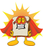 Clip Art Graphic of a White Bread Slice Mascot Character Standing Proud and Wearing a Super Hero Uniform