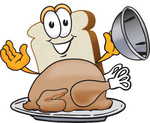 Clip Art Graphic of a White Bread Slice Mascot Character Serving a Cooked Turkey Bird in a Platter on Thanksgiving
