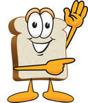 Clip Art Graphic of a White Bread Slice Mascot Character Waving and Pointing