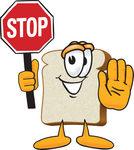 Clip Art Graphic of a White Bread Slice Mascot Character Holding a Stop Sign